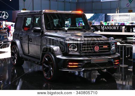 Geneva, Switzerland - March 10, 2019: Luxury Off-road Car Mercedes-benz G63 Amg (w463) Mansory Star