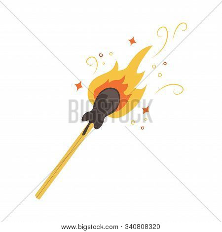 Flat Vector Illustration Of A Lighted Match With Sparks.