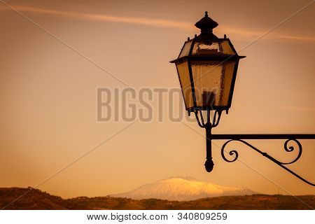 View Of Mount Etna From Mazzarino, Caltanissetta, Sicily, Italy, Europe