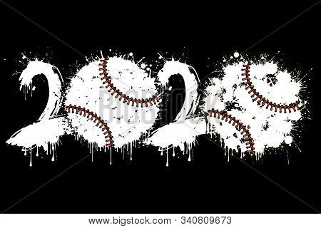 Abstract Numbers 2020 And Baseball Ball Made Of Blots In Grunge Style. 2020 New Year On An Isolated