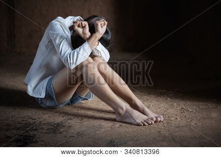 Woman Bondage In Angle Of Abandoned Building , Stop Violence And Sexual Abuse Towards Women, Interna