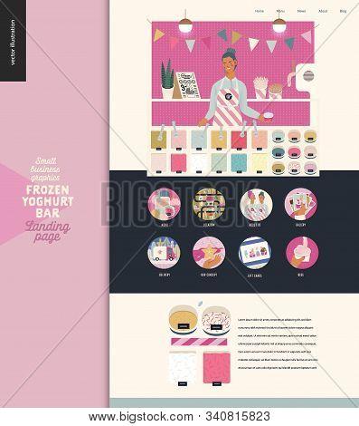 Frozen Yoghurt Bar - Small Business Graphics - Landing Page Design Template -modern Flat Vector Conc