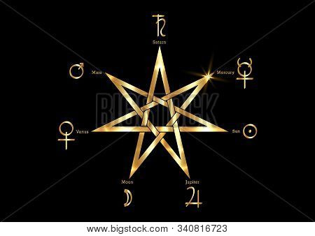 Planetary Ritual Of The Gold Heptagram, Vector Isolated On Black Background. Seven Point Star Or Sep