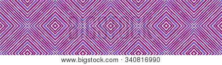 Blue Seamless Border Scroll. Geometric Watercolor Frame. Alive Seamless Pattern. Medallion Repeated