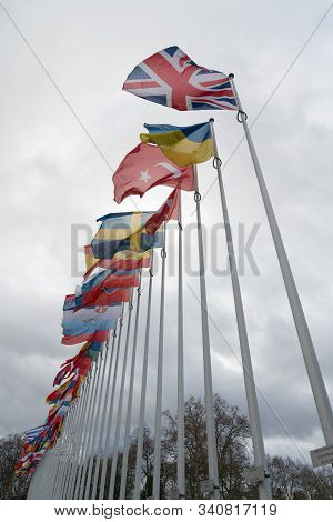 Vertical View Of The Flags Of The Council Of Europe With The British Union Jack Flag In The Foregrou