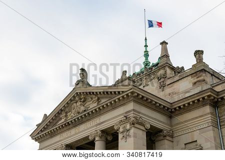 Close Up View Of The Historic Neo-greek Palais De Justice Building In Strasbourg