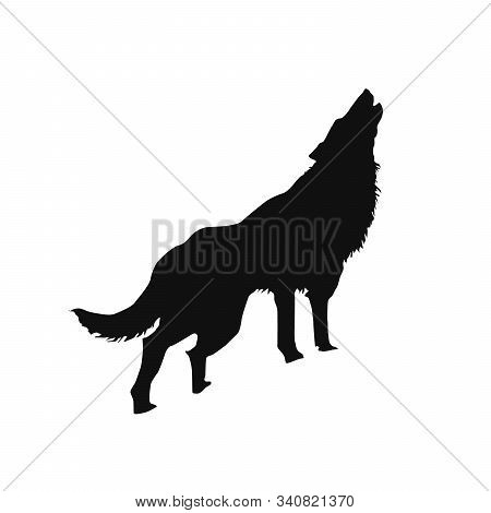 Silhouette Of A Howling Wolf Or A Dog Barking, Stock Vector Illustration Isolated