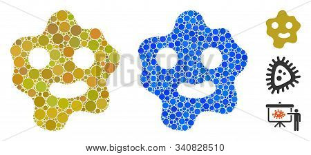 Ameba Mosaic Of Filled Circles In Variable Sizes And Color Tints, Based On Ameba Icon. Vector Filled