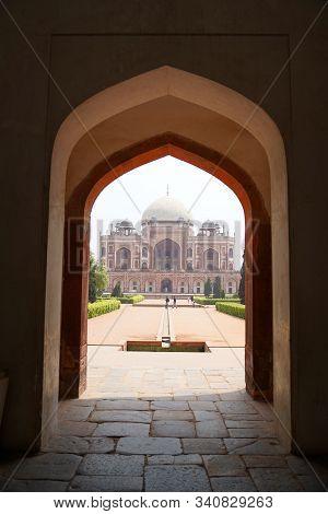 Delhi / India - May 01 2019: Humayun's Tomb Is The Tomb Of The Mughal Emperor Humayun In Delhi, Indi
