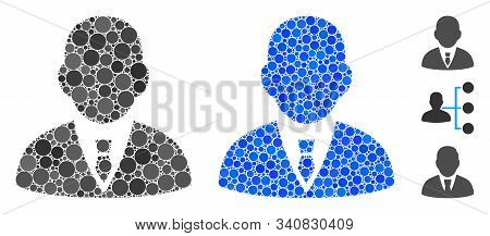 Boss Mosaic Of Small Circles In Different Sizes And Color Hues, Based On Boss Icon. Vector Small Cir