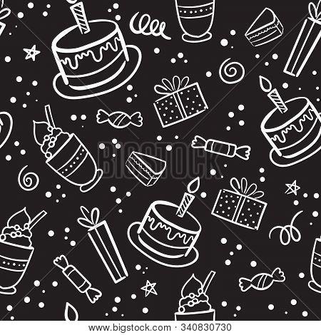 Vector Illustration Of Happy Birthday Badge Set On Blackboard. Design Element For Greeting Cards, Ba