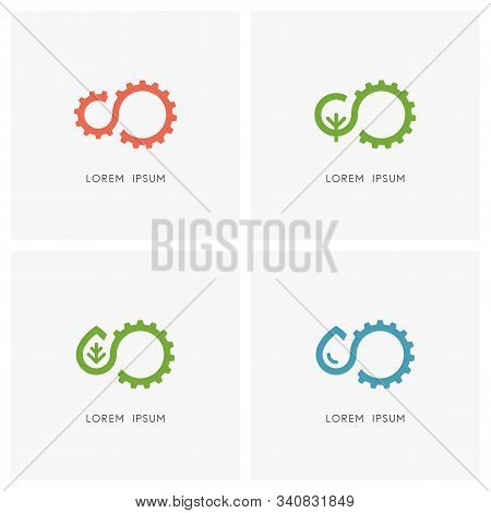 Industry And Nature Logo Set. Gear Wheel Or Pinion, Green Tree, Leaf And Drop Of Water Symbol - Mech