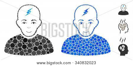 Clever Boy Mosaic Of Round Dots In Variable Sizes And Color Tinges, Based On Clever Boy Icon. Vector