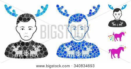 Deers Pullover Horned Husband Mosaic Of Small Circles In Various Sizes And Color Hues, Based On Deer