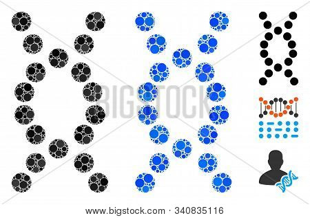 Dna Helix Composition Of Round Dots In Variable Sizes And Color Tones, Based On Dna Helix Icon. Vect