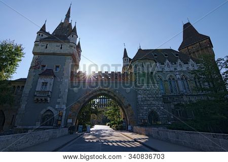 Classic Wide-angle View Of Main Gate In Vajdahunyad Castle. The Text On The Gate: Hungarian Museum O
