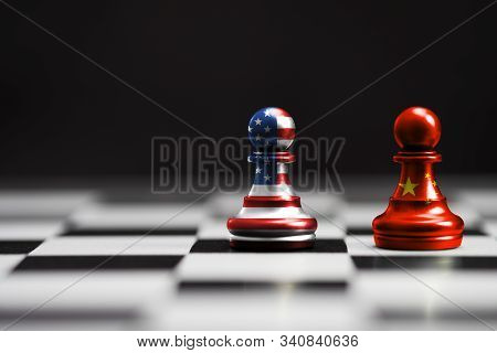 Usa Flag And China Flag Print Screen On Pawn Chess With Black Background.it Is Symbol Of Tariff Trad