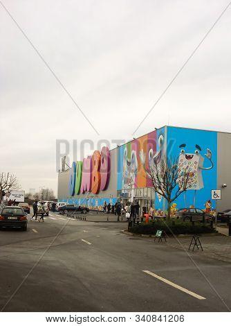 Jumbo Shopping Mall. Toy Store. Big Sign, Logo Of Jumbo Store In Bucharest, Romania, 2019
