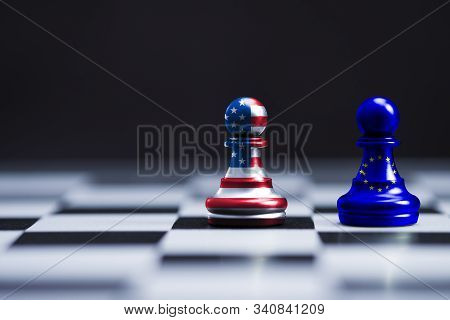 Usa Flag And Eu Flag Print Screen On Two  Pawn Chess For Battle.it Is Symbol Of United States Of Ame