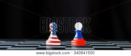 Usa And Russia Flag Print Screen On Pawn Chess With Black Background.it Is Symbol Of Tariff Trade Wa