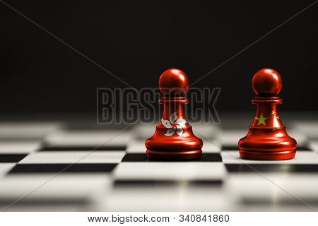 China And Hong Kong Flag Print Screen On Chess With Black Background.hong Kong People Protestor Conc