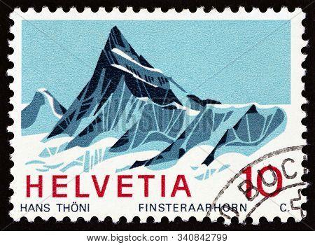 Switzerland - Circa 1966: A Stamp Printed In Switzerland Shows Finsteraarhorn Mountain, Circa 1966.
