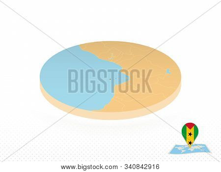 Sao Tome And Principe Map Designed In Isometric Style, Orange Circle Map Of Sao Tome And Principe Fo