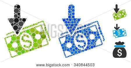 Income Mosaic Of Round Dots In Variable Sizes And Shades, Based On Income Icon. Vector Round Element