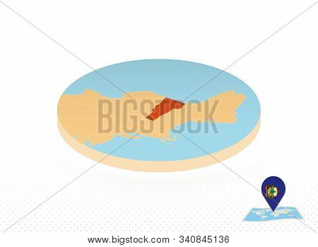 Vermont State Map Designed In Isometric Style, Orange Circle Map Of Us State Vermont For Web, Infogr