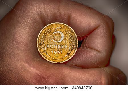Old Soviet Kopecks Coin In Hand. Soviet Union. Concept For Design