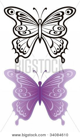 Butterflies with open wings, black contour and monochrome lilac, isolated on white background. Vector poster