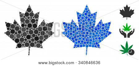 Maple Leaf Mosaic Of Small Circles In Various Sizes And Color Tones, Based On Maple Leaf Icon. Vecto