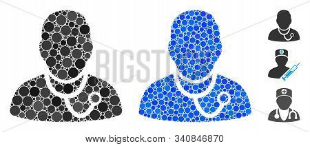 Medic Composition Of Round Dots In Various Sizes And Color Hues, Based On Medic Icon. Vector Round E