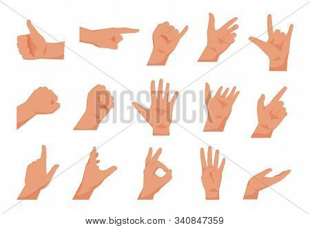 Hand Gestures. Flat Collections Of Arms Showing Different Gestures, Counting Pointing And Greeting.