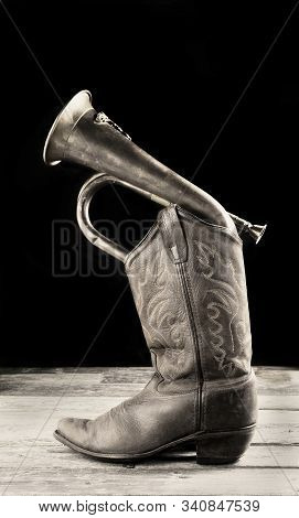 Cowboy Boot And Bugle In Black And White With Room For Your Type
