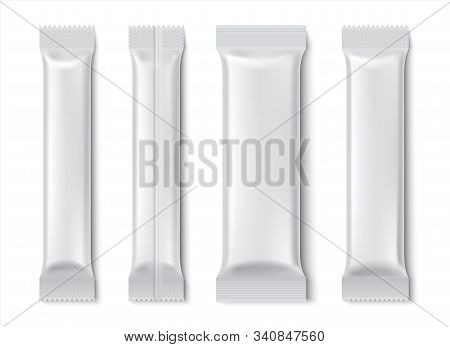 Stick Pack. Blank Sachet Package Mockup For Coffee And Tea Isolated On White, Paper Food Product Pac