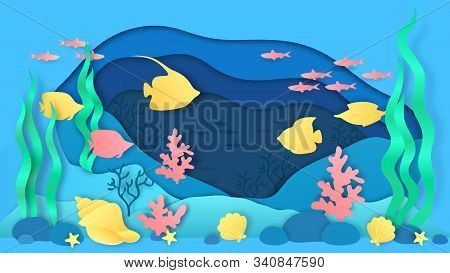 Paper Cut Underwater. Aquarium With Fish And Seaweeds, Ocean Bottom Landscape With Coral Reef And Al