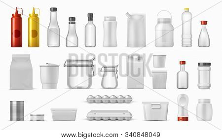 Food Packages. Sauce Bottles And Cereal Containers, Realistic Kitchen Boxes, Carton Plastic And Meta