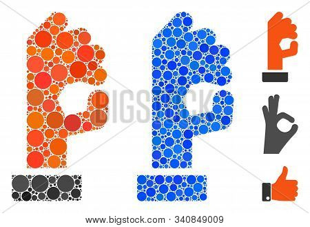 Ok Gesture Mosaic Of Filled Circles In Various Sizes And Color Tints, Based On Ok Gesture Icon. Vect