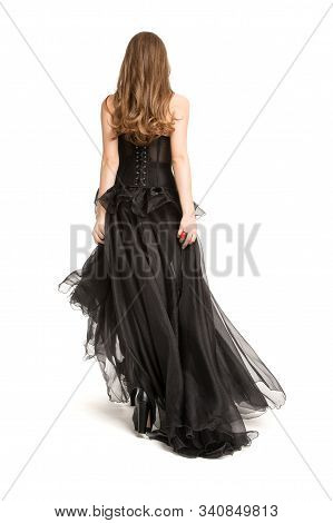 Woman Back Rear View In Black Dress, Beautiful Fashion Model Walking Away In Long Gown On White Back