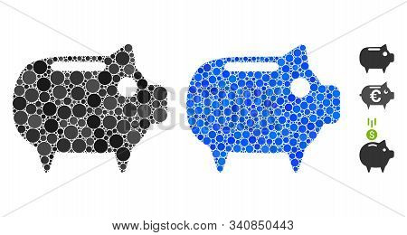 Piggy Bank Mosaic Of Spheric Dots In Variable Sizes And Color Tones, Based On Piggy Bank Icon. Vecto