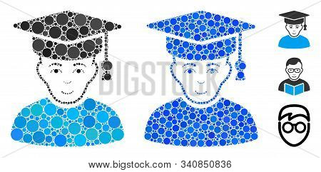 Professor Mosaic Of Filled Circles In Variable Sizes And Color Hues, Based On Professor Icon. Vector