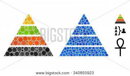 Pyramid Mosaic Of Small Circles In Variable Sizes And Color Tints, Based On Pyramid Icon. Vector Ran