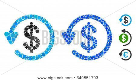 Refund Mosaic Of Filled Circles In Variable Sizes And Color Tinges, Based On Refund Icon. Vector Fil