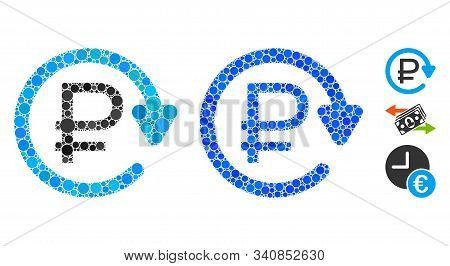 Rouble Recurring Payment Composition Of Filled Circles In Various Sizes And Color Tones, Based On Ro