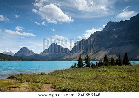 Beautiful Bow Lake On A Sunny Day, Icefield Parkway, Banff National Park, Alberta, Canada