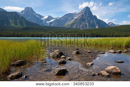Beautiful Waterfowl Lake On A Sunny Day, Icefield Parkway, Banff National Park, Alberta, Canada