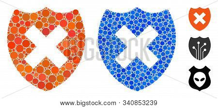 Security Shield Fail Mosaic Of Round Dots In Different Sizes And Color Hues, Based On Security Shiel