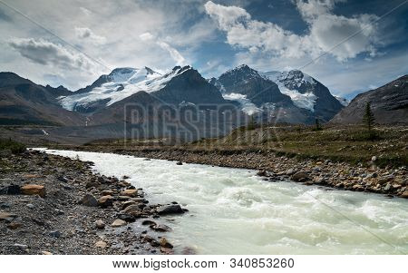 Panoramic Image Of The Glacier Landscape Within The Jasper National Park, Rocky Mountains, Alberta,