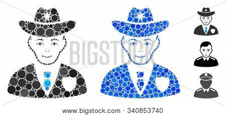 Sheriff Composition Of Filled Circles In Various Sizes And Shades, Based On Sheriff Icon. Vector Sma